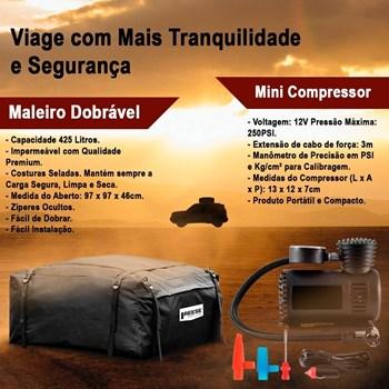 Bagageiro Maleiro Teto Dobrável 425l + Mini Compressor De Ar