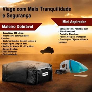 Bagageiro Maleiro Teto Dobrável Imperm 425l + Mini Aspirador