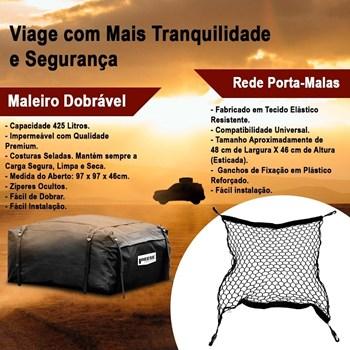 Bagageiro Maleiro Teto Dobrável Imperm. 425l + Rede Malas