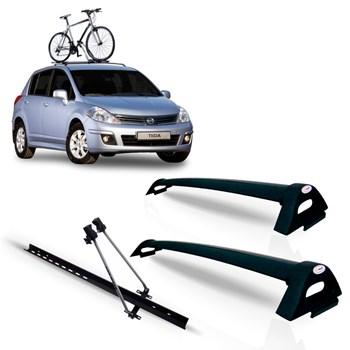 Bagageiro Nissan Tiida Hatch Aluminio Preto + Suporte Bike