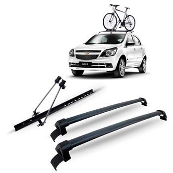 Bagageiro Teto Agile Aluminio Preto + Suporte Bicicleta