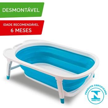 Banheira Baby Multikids Menino Flexi Bath Dobrável Azul