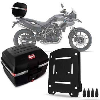 Baú Moto 27 Litros Givi + Suporte Bagageiro Bmw F700 F800 Gs