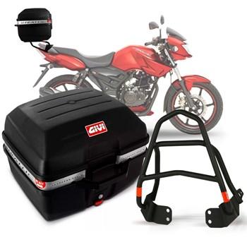 Baú Moto 27 Litros Givi + Suporte Bagageiro Dafra Apache