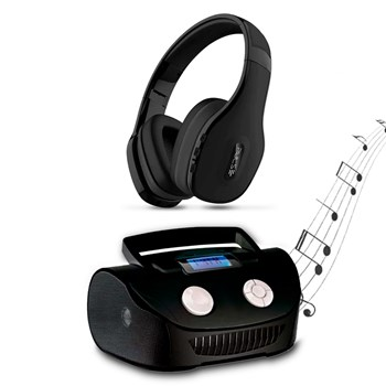 Boombox Mp3 Sistema De Som Portatil + Fone Pulse Bluetooth