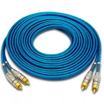 Cabo Rca Prime Plug Metal 5mm Transparente Azul 5m