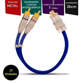 Cabo y Prime Plug Metal 5mm Transparente Azul 2 Machos 1 Femea 25 Unidades