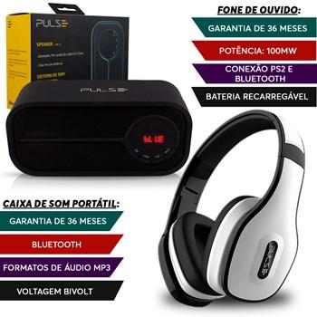 Caixa Som Portátil Bluetooth + Fone Ouvido Branco