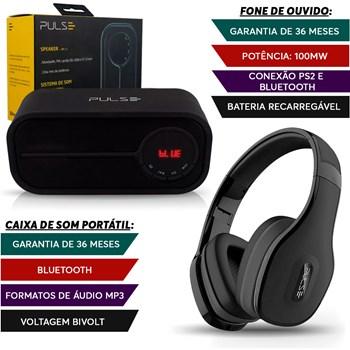 Caixa Som Portátil Bluetooth + Fone Ouvido Preto Pulse