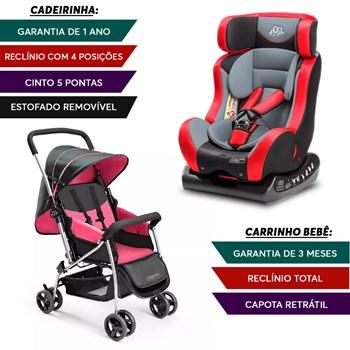 Carrinho Bebe Flip Rosa + Cadeirinha Auto Vermelha Inmetro