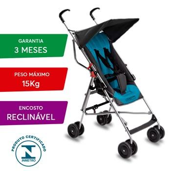 Carrinho Bebe Guarda Chuva Reclinável E Berço Bb500 Azul