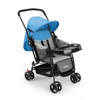 Carrinho De Bebê Berço Com Bandeja Weego Azul