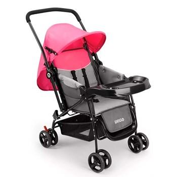 Carrinho De Bebê Berço Com Bandeja Weego rosa