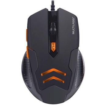 Combo Mouse 3200dpi Mousepad Gamer Preto/laranja Multilaser