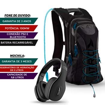 Corrida Mochila Hidratação 02l + Fone Bluetooth Preto