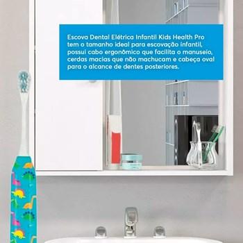 Escova Dental Elétrica Dinossauro Infantil Kids Health Pro