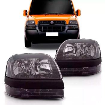 Farol Fiat Doblo 2003 2004 2005 2006 2007 2008 Máscara Negra