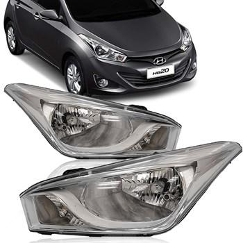 Farol Hyundai Hb20 2012 2013 2014 2015 2016 2017 2018 Máscara Cromada