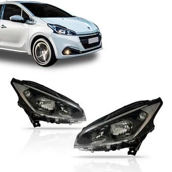 Farol Peugeot 208 Ano 2013 Á 2015 Máscara Negra Com Led