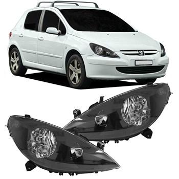 Farol Peugeot 307 2003 2004 2005 2006 Máscara Negra