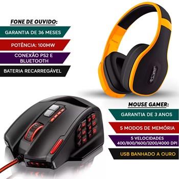 Fone Gamer Bluetooth Amarelo + Mouse Gamer 18 Botões