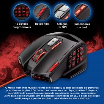 Fone Gamer Bluetooth Preto + Mouse Gamer 18 Botões
