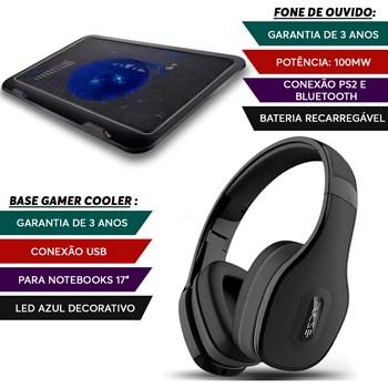 Fone Ouvido Bluetooth Preto + Base Gamer Notebook Led