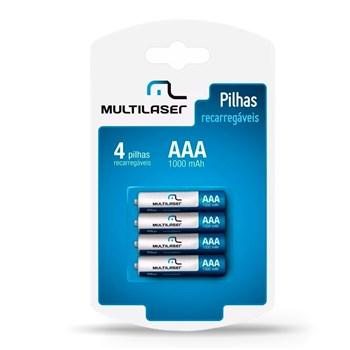 Jogo 4 Pilhas Recarregáveis Multilaser AAA Inteligente 1000mh