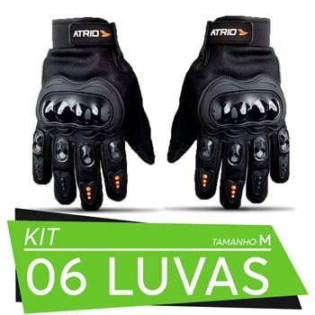 Kit 06 Pares De Luvas Motociclista Frio Intenso Chuva Tam M