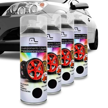 Kit 4 Spray De Envelopamento Líquido Preto Fosco