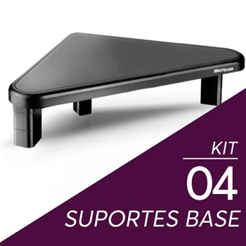 Kit 4 Suportes Base Para Monitor Multilaser Triangular Preto