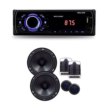 Kit Auto Falantes 2 Vias + Auto Radio Sd Usb Card