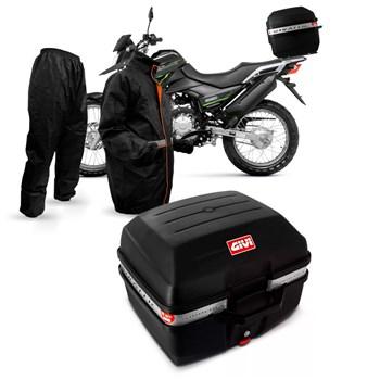 Kit Baú Givi Moto 27 Litros + Capa De Chuva Multilaser