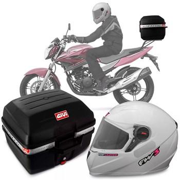 Kit Baú Givi Moto 27l + Capacete Branco Com Rosa