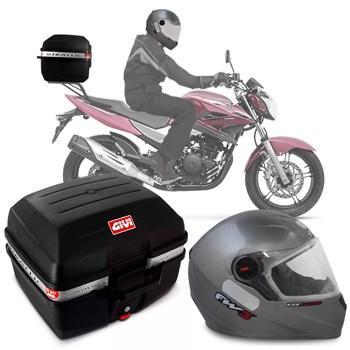 Kit Baú Givi Moto 27l + Capacete Prata Com Vermelho