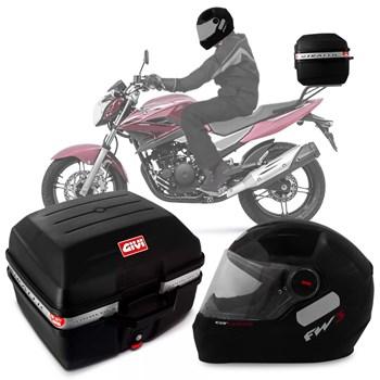Kit Baú Givi Moto 27l + Capacete Preto Brilhante com Vemelho