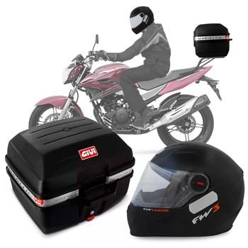 Kit Baú Givi Moto 27l + Capacete Preto Fosco Com Laranja