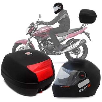 Kit Baú Givi Moto 29l + Capacete Preto Fosco Laranja
