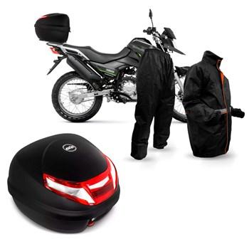 Kit Baú Givi Moto 30l Lente Bicolor + Capa Chuva Atrio
