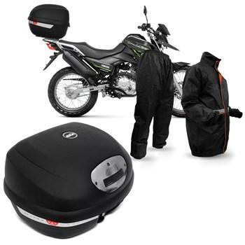 Kit Baú Givi Moto 33l Lente Fumê + Capa De Chuva Multilaser
