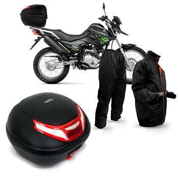 Kit Baú Givi Moto 35l Lente Bicolor + Capa Chuva Multilaser