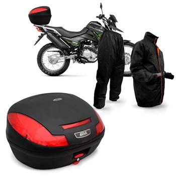 Kit Baú Givi Moto 47 Litros + Capa De Chuva