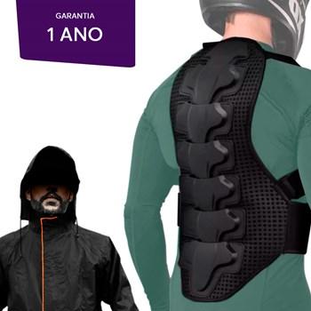 Kit Capa De Chuva + Protetor Cervical Lombar Motociclista