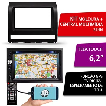 Kit Central Multimidia Evolve + Moldura 2 Din Fiat Palio