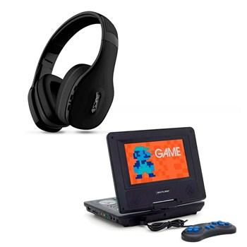 Kit Dvd Automotivo Giratorio + Fone Ouvido Preto Bluetooth