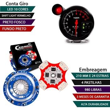 Kit Embreagem Cerâmica 4 Pastilha / 980lb + Conta Giro Preto