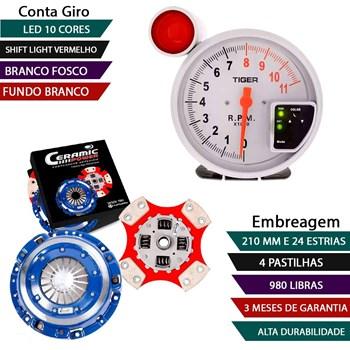 Kit Embreagem Cerâmica 4 Pastilhas / 980lb Conta Giro Branco