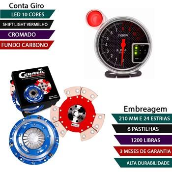 KIT EMBREAGEM CERAMICA GOL SANTANA PARATI SAVEIRO PASSAT 1.8 E 2.0 SEM MOLA 6 PASTILHA + Conta giros