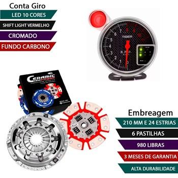 KIT EMBREAGEM CERAMICA GOL SANTANA PARATI SAVEIRO PASSAT VOYAGE 1.8 E 2.0 PEDAL LEVE +  CONTAGIRO