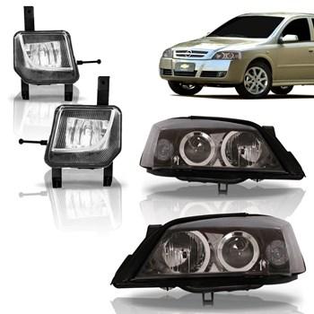 Kit Farol  Chevrolet Astra 2003 2004 2005 2006 2007 2008 2009 2010 2011 2012 Fumê + Farol de Milha